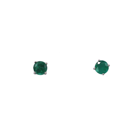 Fitzgerald Imports .81 carat Emerald 14k white gold Stud Earrings