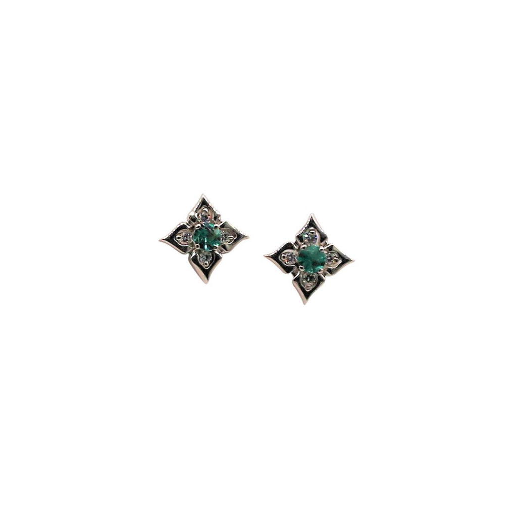 Emerald and Diamond White Gold Stud Earrings - Silverscape Designs