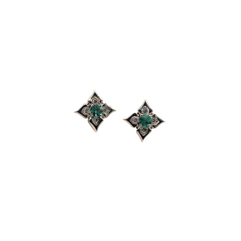 Keith Harding Emerald and Diamond 14k White Gold Stud Earrings