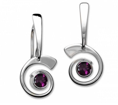 Ed Levin Sterling Silver Nautilus Earrings with Rhodolite