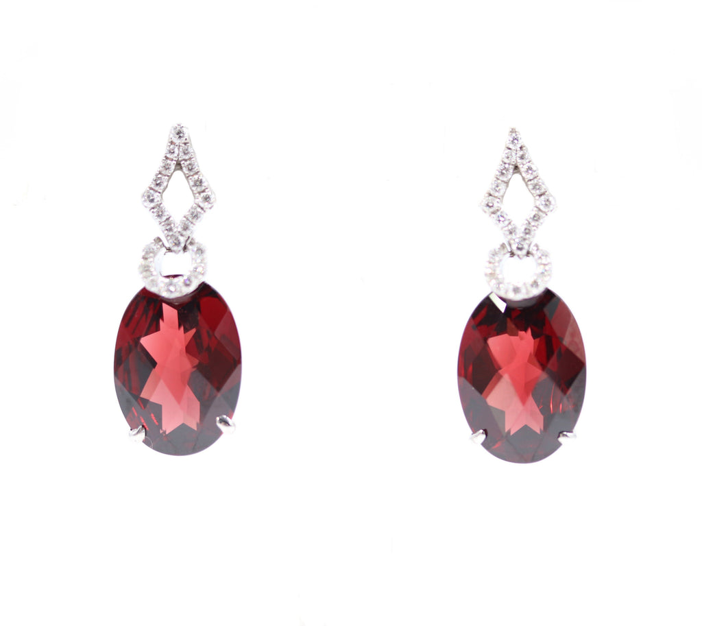 Multi-Shaped Garnet and Diamond White Gold Dangle Earrings - Silverscape Designs