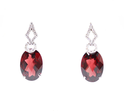 Multi-Shaped Garnet and Diamond Earrings
