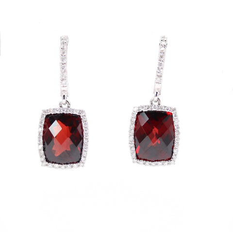Diamond Huggies with Large Garnet Drops