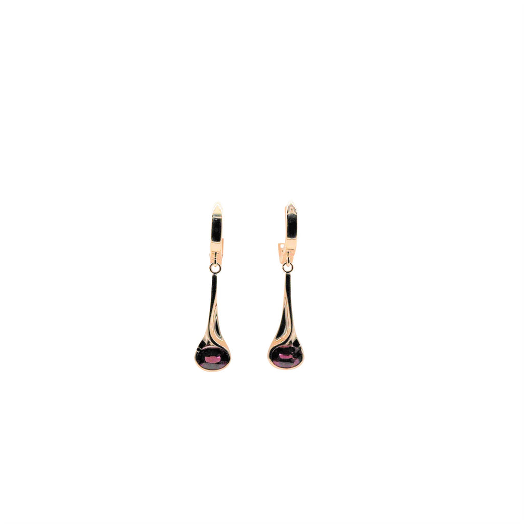 Garnet Yellow Gold Dangle Earrings - Silverscape Designs