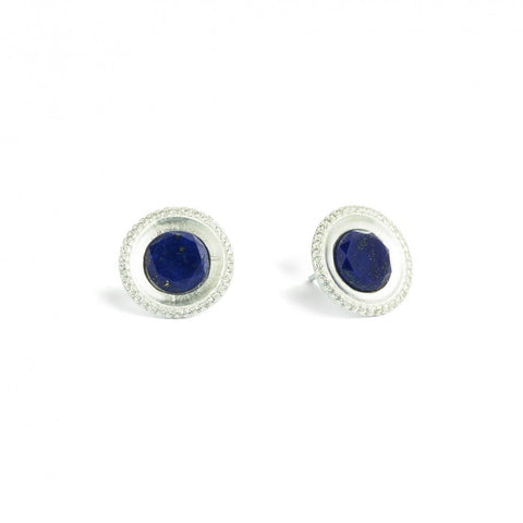 Belanni Lapis Sterling Silver Stud Earrings - Silverscape Designs