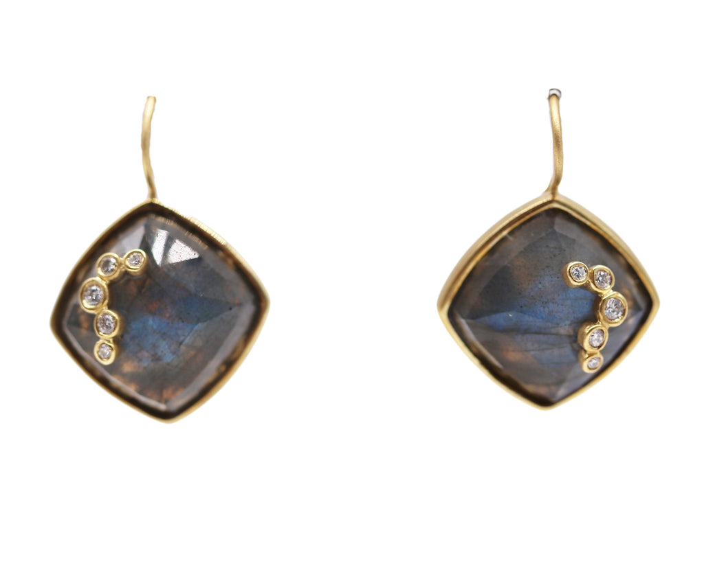 Labradorite and Diamond 18k Yellow Gold Earrings