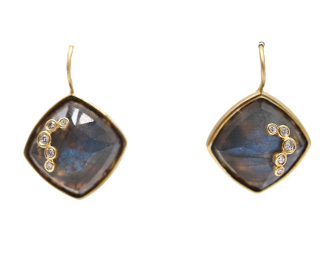 Labradorite and Diamond Earrings