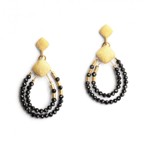 Climini Black Spinel Teardrop Earrings - Silverscape Designs