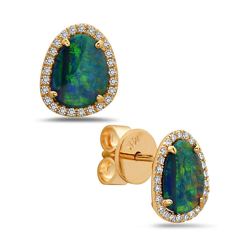 Black Opal and Diamond Yellow Gold Stud Earrings