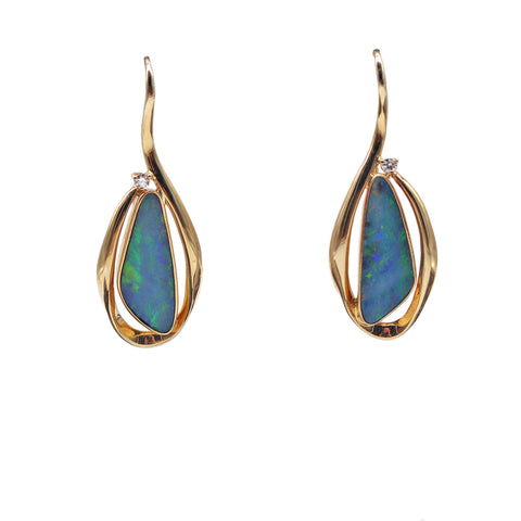 Roger Pearman Lightening Ridge District Opal and .07 TCW Diamond 14k Yellow Gold Earrings