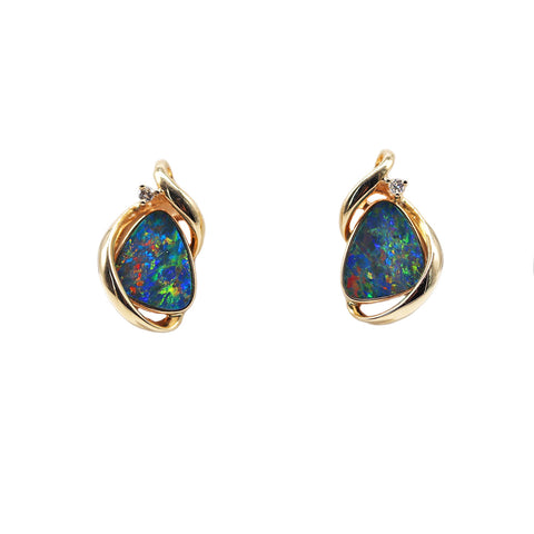 Roger Pearman Lightening Ridge District Opal Doublet and .05 TCW Diamond 14k Yellow Gold Stud Earrings