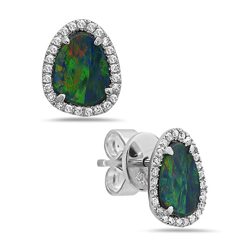 Black Opal and Diamond White Gold Stud Earrings