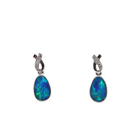 Roger Pearman Opal and .07TCW Diamond 14k Yellow Gold Drop Earrings