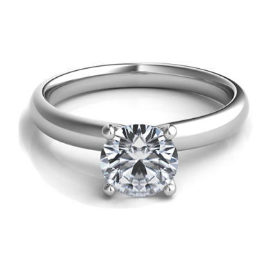 Platinum Solitaire Engagement Ring Mounting - Silverscape Designs