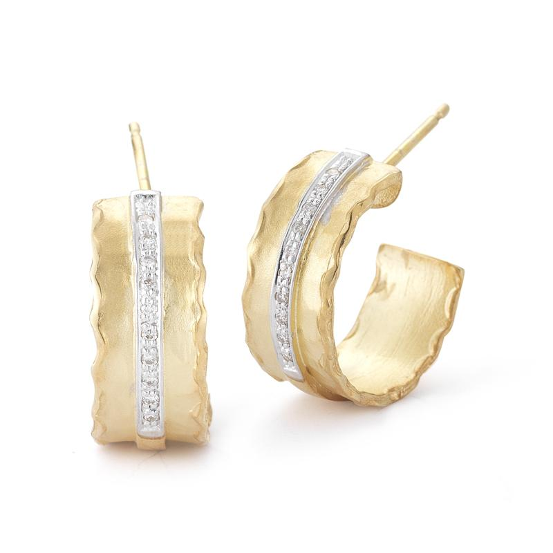 Hammered 14 Karat Yellow Gold and Diamond Hoops