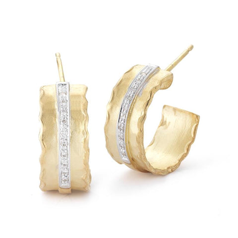 Hammered 14 Karat Yellow Gold and Diamond Hoops - Silverscape Designs