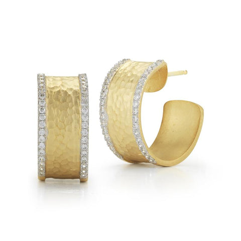 Small Hammered Yellow Gold and Diamond Hoops - Silverscape Designs