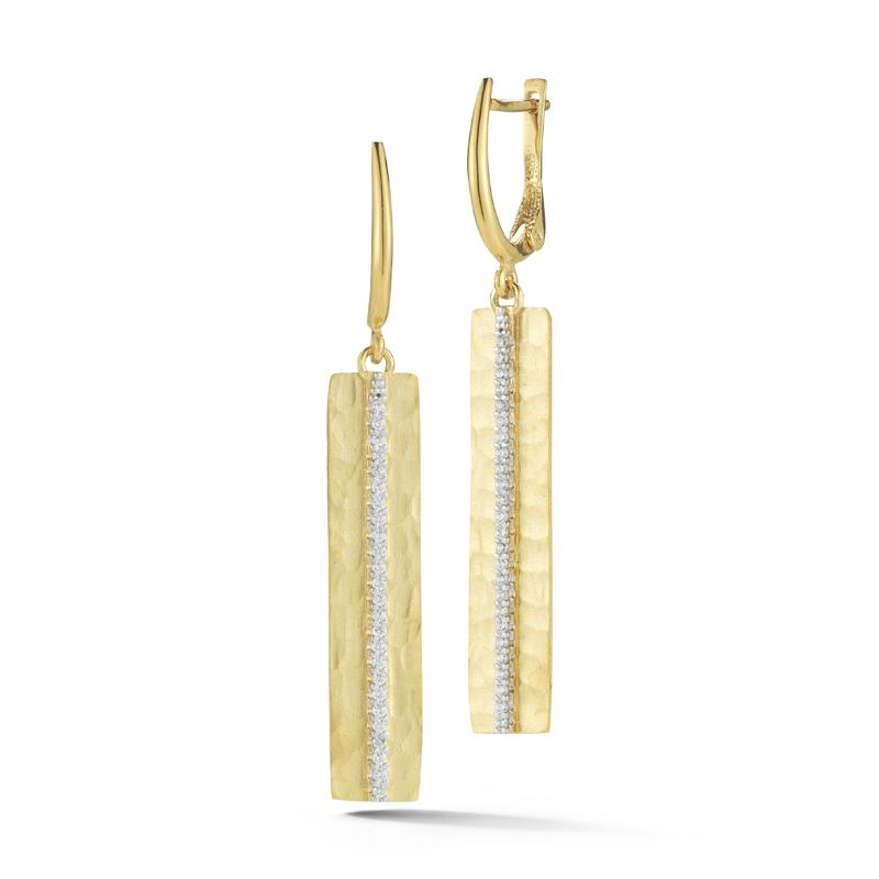 Hammered Yellow Gold and Diamond Bar Earrings