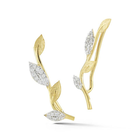14 Karat Yellow Gold Climbing Vine Earrings