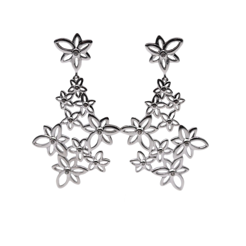 Breuning Sterling Silver Large Flower Dangle Earrings