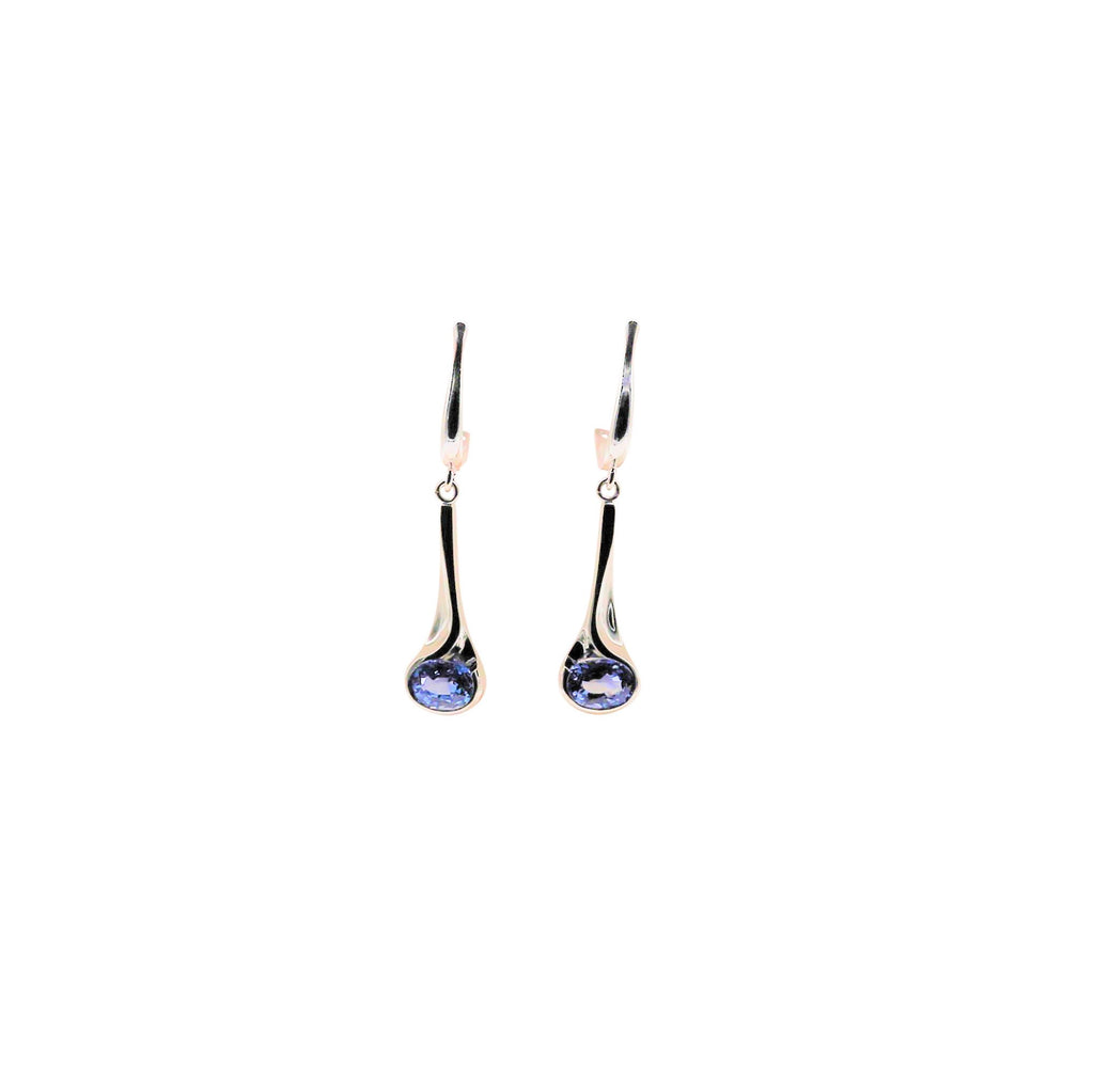 Oval Blue Sapphire Yellow Gold Dangle Earrings - Silverscape Designs