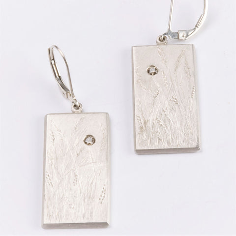 Fine Silver Botanical Engraved Drop Earrigns with Diamonds