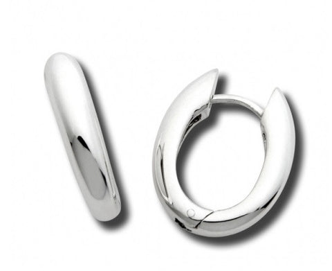 Zina Sterling Silver Contemporary U Snap Hoop Earrings