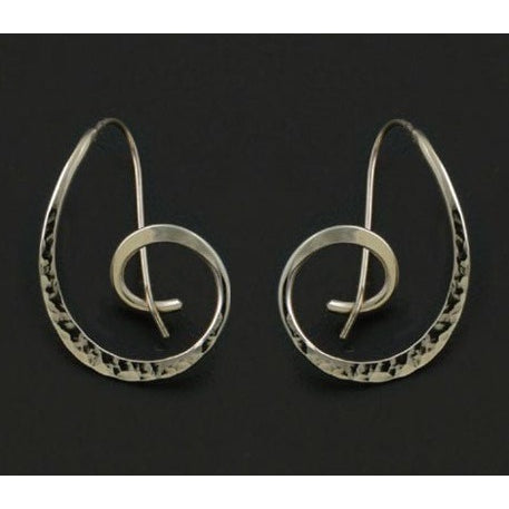 Hammered Spiral Earrings - Silverscape Designs