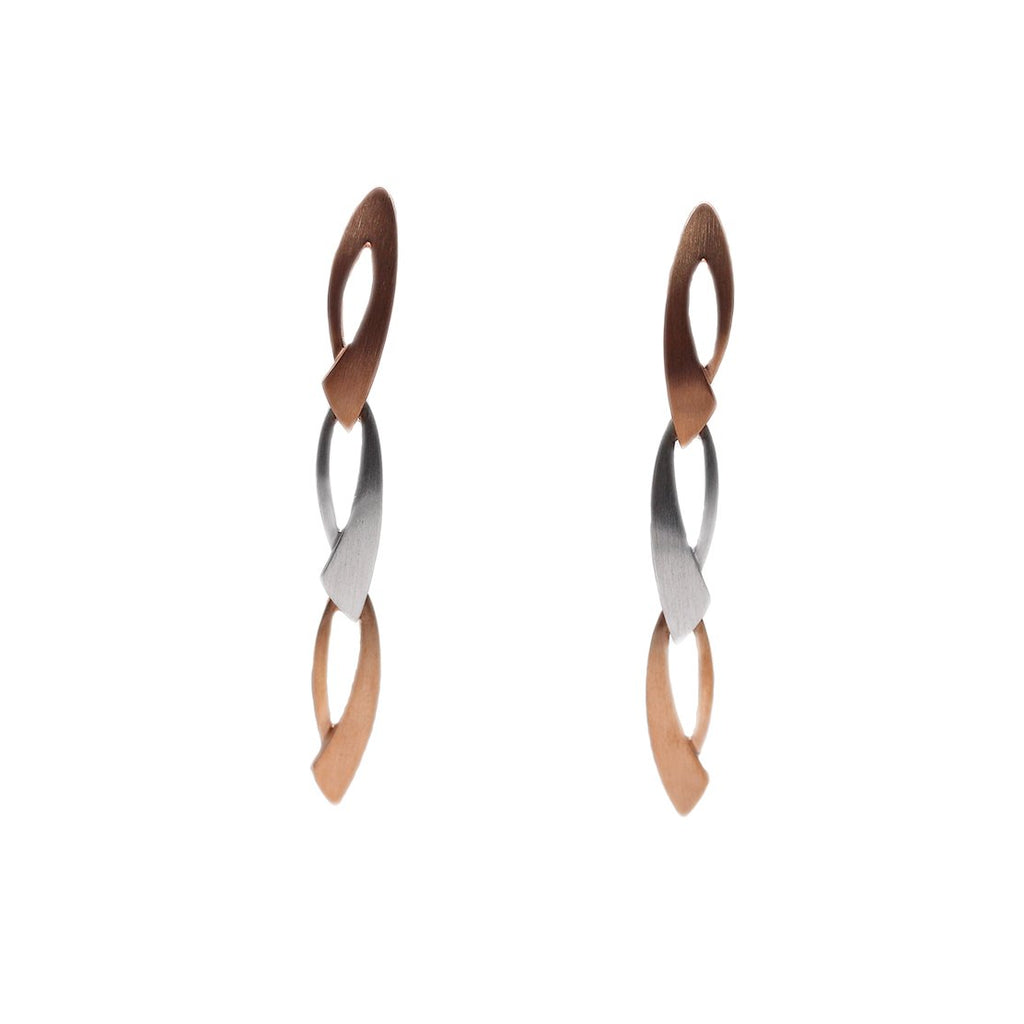 Breuning Strling Silver and Rose Gold Matte Link Earrings