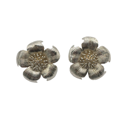 Vintage Tiffany & Co. Dogwood Flower Earrings in Sterling Silver - Silverscape Designs