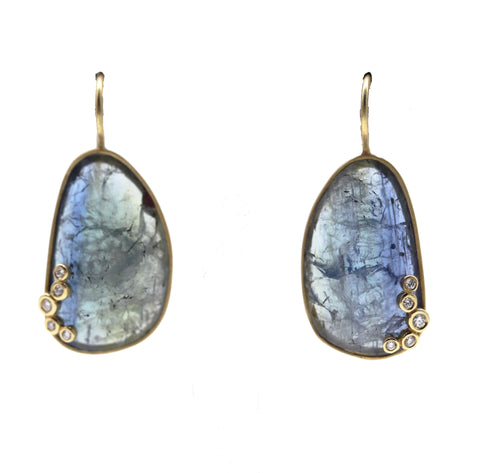 Satin Finished Tanzanite and Diamond Yellow Gold Earrings - Silverscape Designs