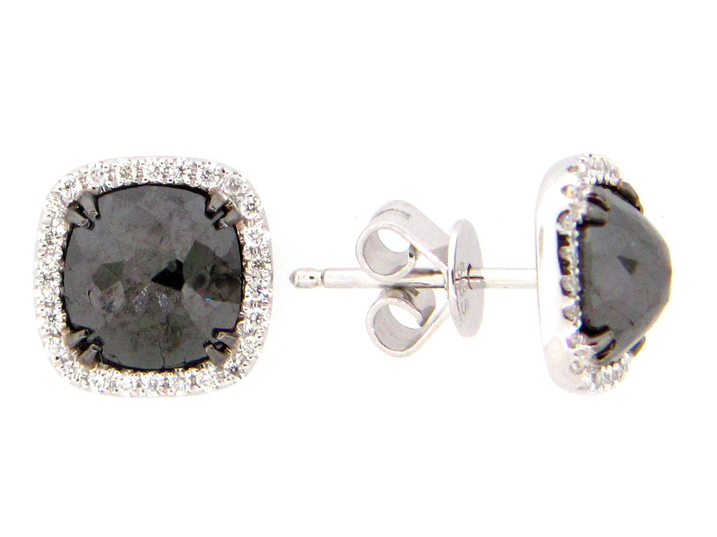 14 Karat White Gold and Black Diamond Studs