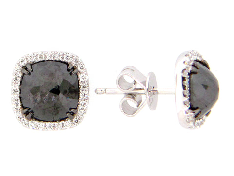 Dilamani 14 Karat White Gold 2.99TCW Black Diamond .15TCW Diamond Halo Stud Earrings