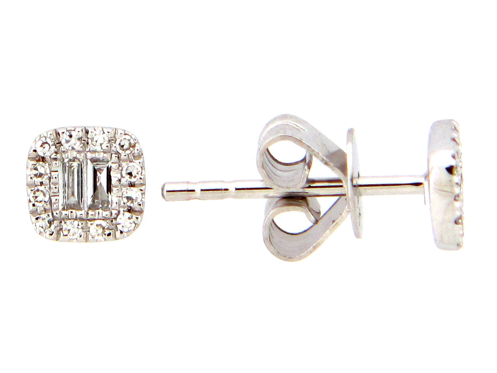 Diamond White Gold Cushion Cut Stud Earrings - Silverscape Designs