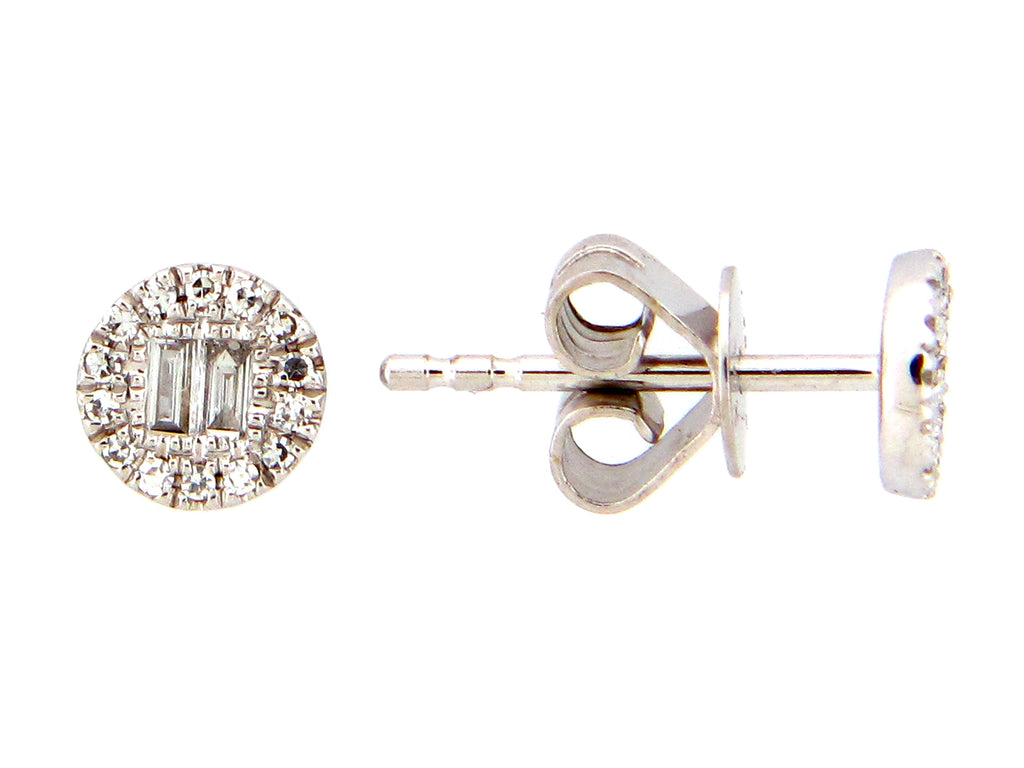 Diamond White Gold Round Stud Earrings - Silverscape Designs