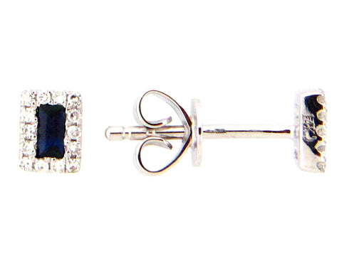 Rectangle Diamond and Sapphire Stud Earrings in White Gold - Silverscape Designs