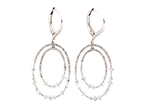Diamond Double Oval Dangle Earring - Silverscape Designs