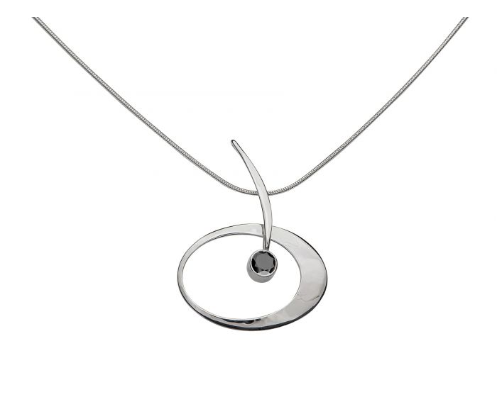 Ed Levin Sterling Silver Elliptical Elegance Necklace with onyx