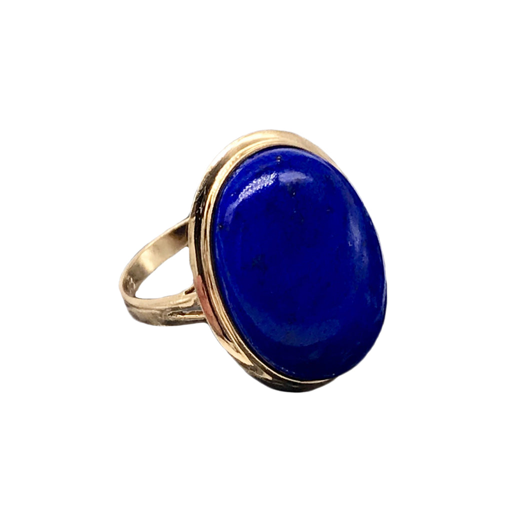 Estate 20mmX15mm Lapis Lazuli and 14k Yellow Gold Ring Size 7.5