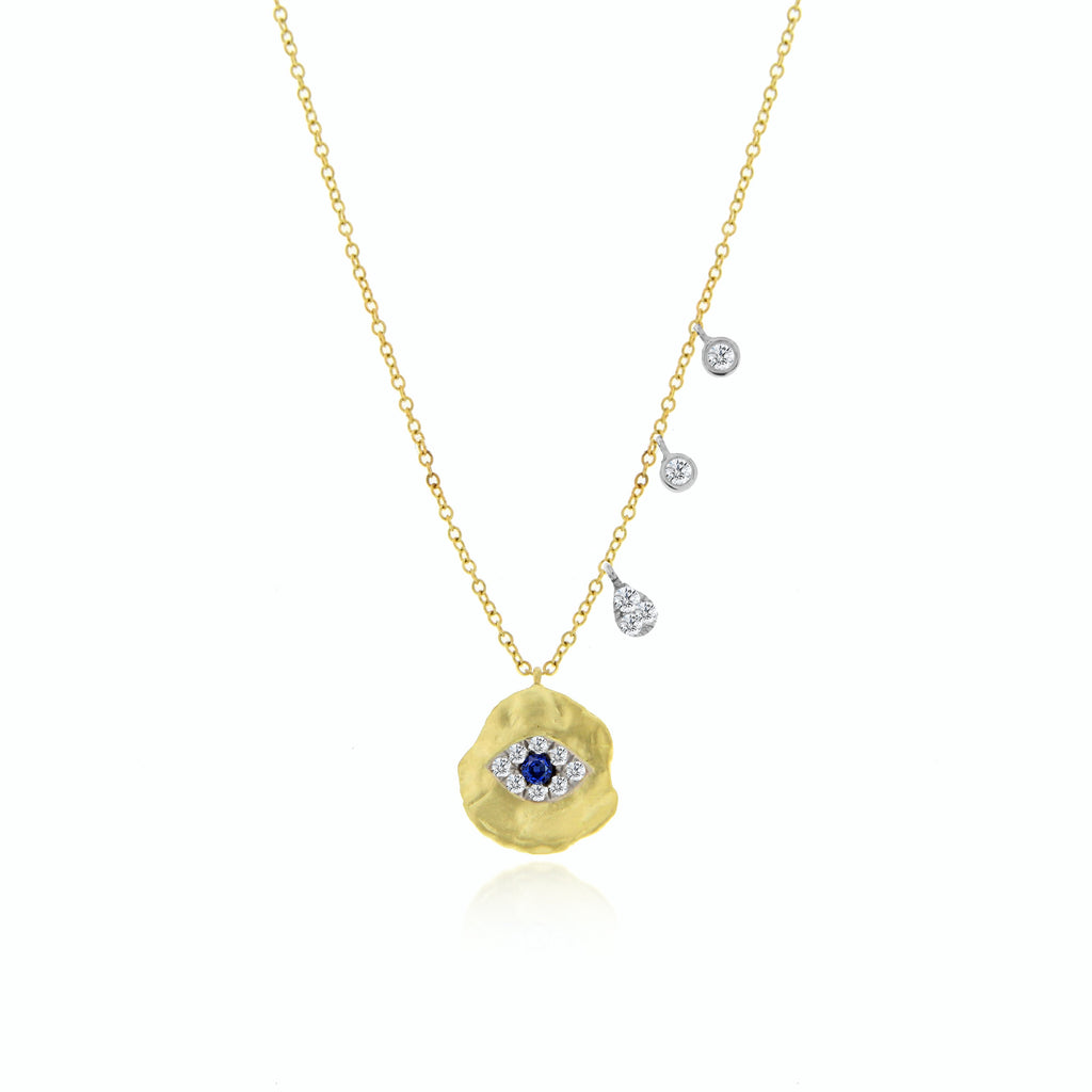 Meira T 14k Yellow Gold Gold Evil Eye Necklace with .09 TCW Diamonds & .01 TCW Sapphire