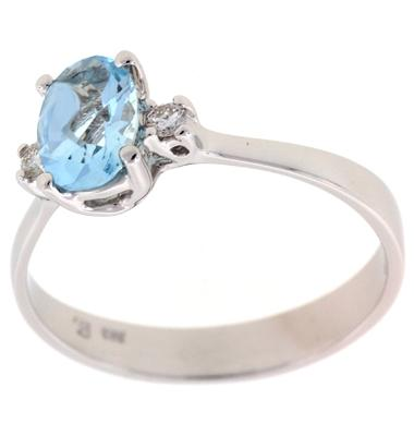PeJay Creations .93 Carat Oval Aquamarine and .05 TCW Diamond 14k White Gold Ring
