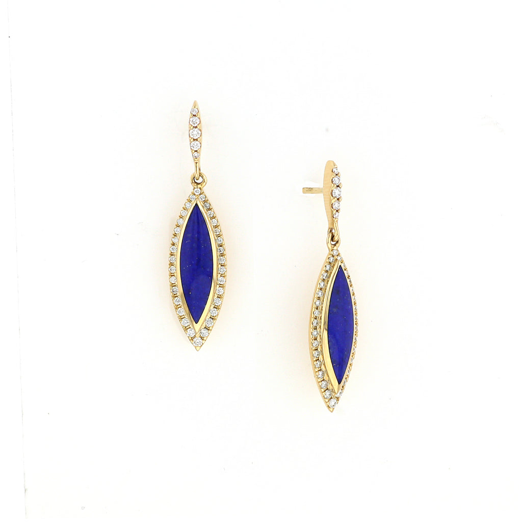 Lapis and Diamond Yellow Gold Dangle Earrings - Silverscape Designs