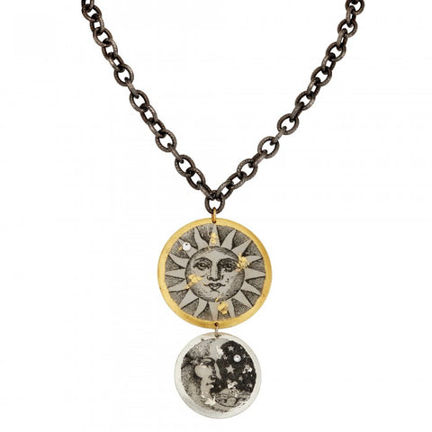 Evocateur Sun and Moon Double Disc Necklace