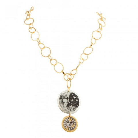 Evocateur Moon and Sun Double Disc Necklace with O chain