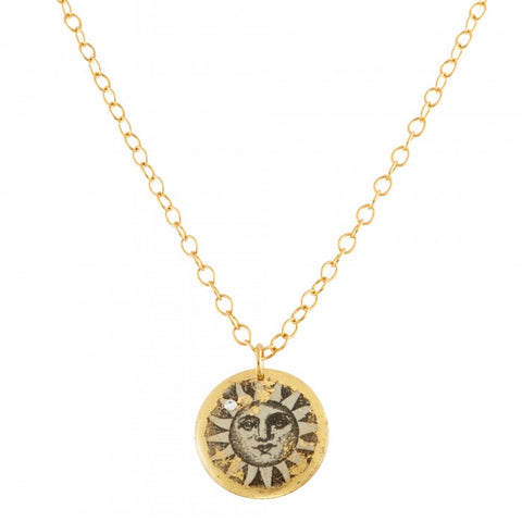 Sun and Moon Reversible Disc Pendant Necklace