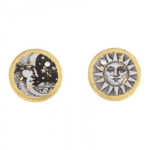 Evocateur Sun and Moon Disc Stud Earrings