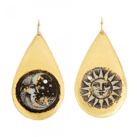 Evocateur Sun and Moon Teardrop Earrings