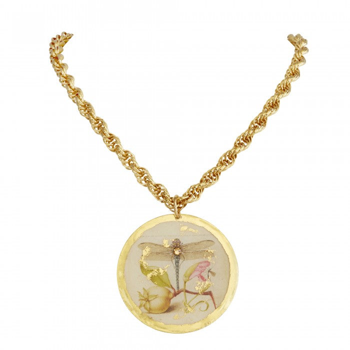 Evocateur Dragonfly Garden Disc Necklace