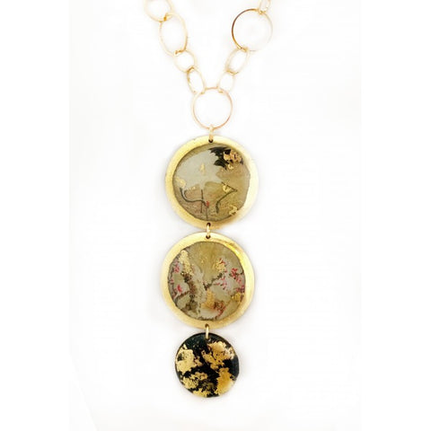 Red Crowned Crane 3 Disk Necklace in 22k Gold Leaf - Silverscape Designs