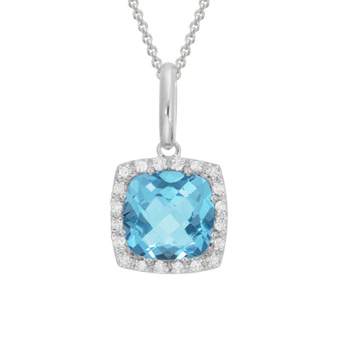 Square Blue Topaz Necklace with Diamond Halo in White Gold - Silverscape Designs